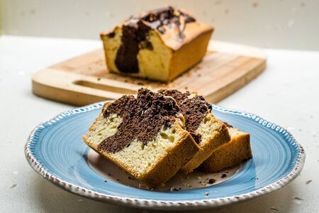 Marble Cake Slices in Plate. Ready to Eat. Traditional Dessert.