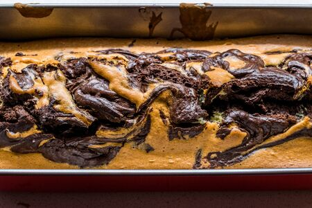 Whole Marble Cake in Rectangular Cake Mold. Traditional Dessert.
