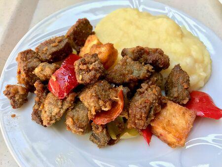 Albanian liver Kebab with Potato Mash Puree  Arnavut Cigeri. Traditional Cubed Meat Organic Food.
