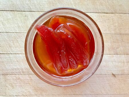 Homemade Organic Cherry Tomato Jam in Bowl  Marmalade with Tomatoes for Breakfast. Ready to Eat.