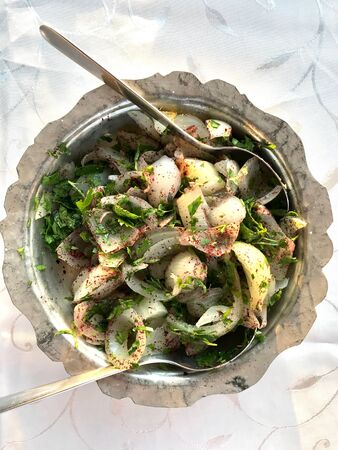 Turkish Onion Salad for Kebab in Copper Bowl. Traditional Organic Fresh Food. Reklamní fotografie