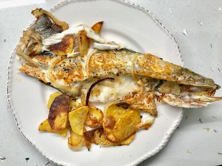 Fillet of Sea Bass Grilled with Potatoes and Onions in Plate. Organic Food.