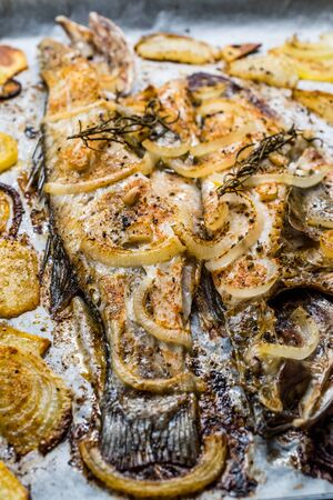 Fillet of Sea Bass Grilled with Potatoes and Onions in Baking Tray with Oven. Organic Food. Reklamní fotografie