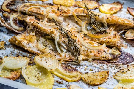 Fillet of Sea Bass Grilled with Potatoes and Onions in Baking Tray with Oven. Organic Food. Stock Photo