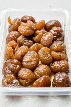 Take Away Turkish Chestnut Dessert in Plastic Box Package or Container  Kestane Sekeri. Organic Dessert.