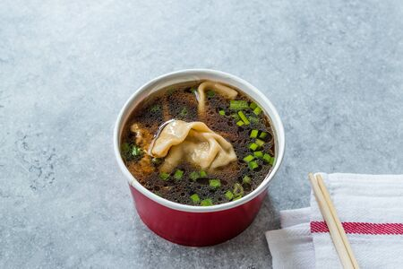 Take Away Asian Food Wonton Soup with Bok Choy and Chives in Plastic Bowl Package or Container Box. Traditional Dish Cuisine.