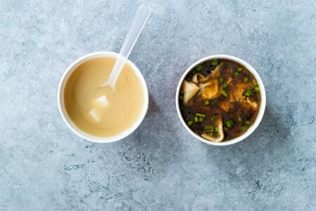 Take Away Asian and Japanese Food Wonton and Miso Soup in Plastic Bowl Package or Container Box.