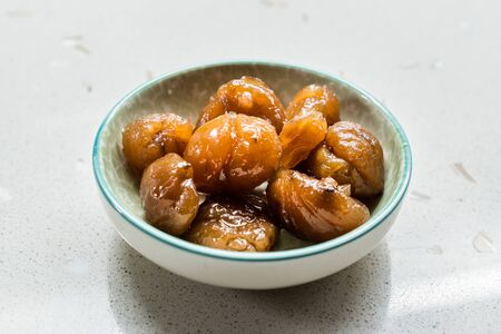 Turkish Chestnut Dessert  Kestane Sekeri. Traditional Organic Dessert.