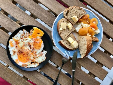 Sesame Seeds with Fried Eggs for Turkish Breakfast. Organic Traditional Food.