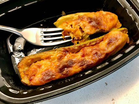 Turkish Zucchini Courgettes Stuffed with Chicken, Bechamel Sauce, Cheese and Dill.