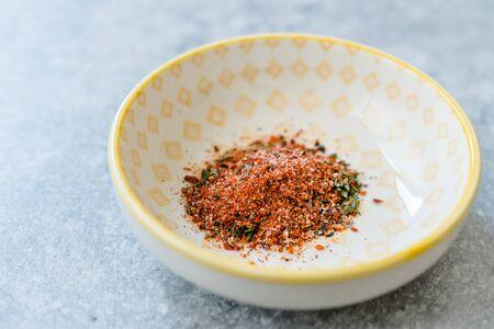 Organic Red Spicy Korean Gochugaru Spice with Thyme and Sea Salt. Organic Product. Zdjęcie Seryjne
