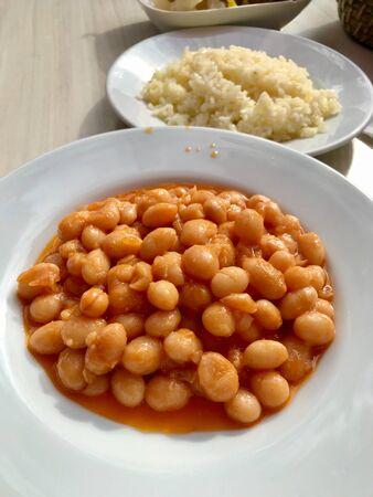 Turkish Baked Beans with Rice Pilav  Pilaf  Kuru Fasulye. Traditional Organic Food.