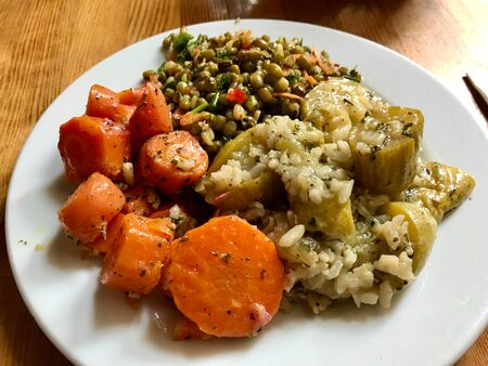 Turkish Olive Oil Plate with Mung Bean Salad, Carrot and Rice Zucchini  Healthy Organic Food Plate in Local Restaurant. Ready to Serve. Zdjęcie Seryjne