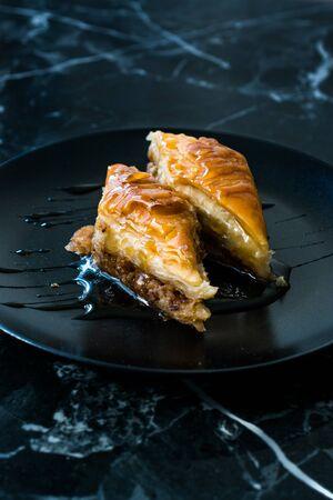 Homemade Turkish Dessert Organic Baklava with Honey. Traditional Food.