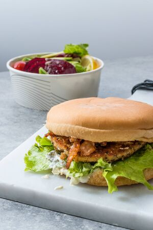 Fast Food Menu Salmon Burger with Take Away Salad in Plastic Box. Healthy Product.