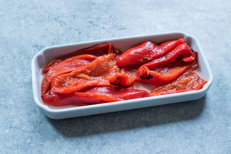 Roasted and Peeled Red Bell Pepper Slices  Baked Style as Appetizer. Organic Traditional Appetizer.