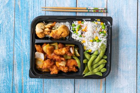 Take Away Japanese Food Bento Box Menu Set with Chicken, Fried Dumplings, Edamame and Rice with Vegetables in Plastic Box Package / Container. Traditional Healthy Fast Food.
