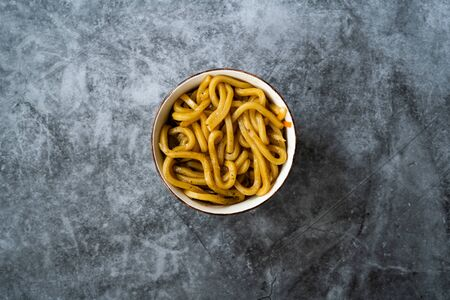 Japanese Udon Noodles Plain in Bowl Top View. Traditional Organic Food.