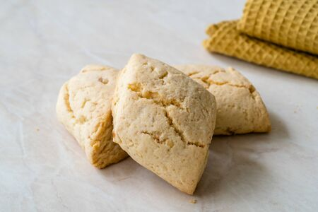 Homemade Moroccan Festive Ghriba Bahla Cookies Biscuits. Traditional Healthy Organic Sweet Snacks.