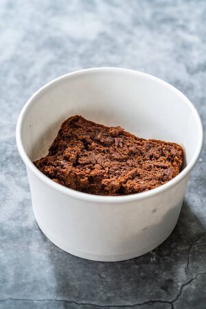 Take Away Healthy Organic Homemade Vegan Dessert Mexican Brownie with Kidney Beans. Gluten Free and No Sugar Free in Plastic Box Package Container. Ready to Eat. Stock Photo