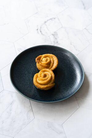 Turkish Rose Dessert with Hazelnut and Sherbet. Traditional Dessert.