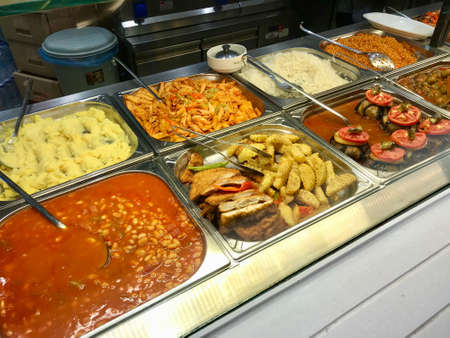 Traditional Local Turkish Restaurant Food in Showcase. Ready to Eat Traditional Food.