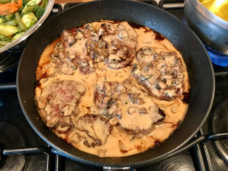 Fillet of Beef with Creamy Mushroom Frying and Cooking in Pan. Ready to Serve and Eat.