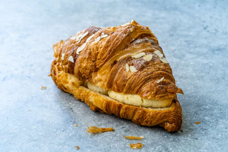 Fresh Baked Croissant with Almond Cream. Ready to Serve and Eat.