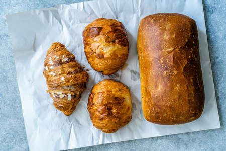 Delicious Loaves of Different Bread Types Croissant and Ciabatta Bread. Ready to Eat.