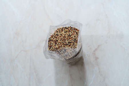 Raw Mixed Tricolor / Three Color Quinoa in Plastic Package. Ready to Use.
