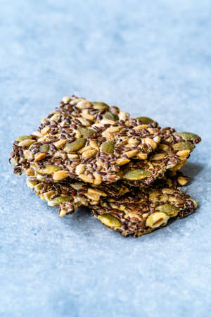 Turkish Homemade Cracker Snacks Biscuit with Sunflower Seeds, Sesame and Dill. Crispy Leaf Bread Crumbs.