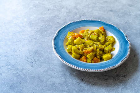Olive Oil Food Zucchini with Turmeric or Courgette. Traditional Food.