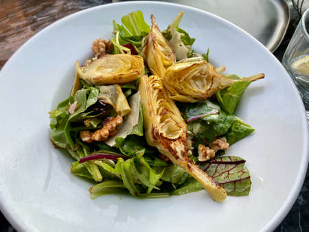 Roasted Artichoke Hearts Salad served at Restaurant. Ready to Serve and Eat.
