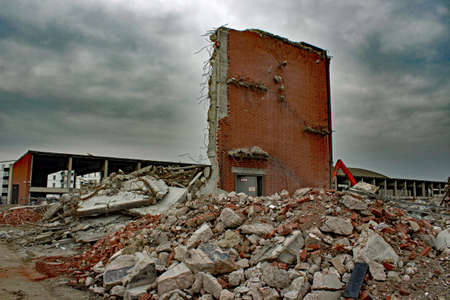 broken wall on construction site Stock Photo