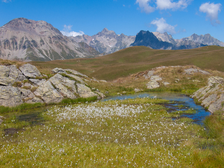 french way: Mountain and river landscape. Stock Photo