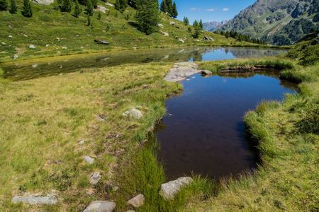 thuilette, 라 thuile, 발 d' aoste, 이탈리아의 호수 스톡 콘텐츠