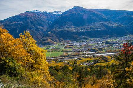 rhone valley in valais in swiss