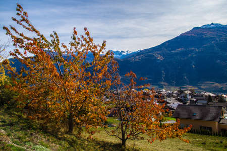 chermignon from below in valais in swiss