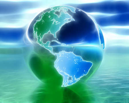 3D globe on water in blue and green colors