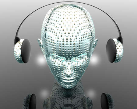 Music strange girl with headphone createve background photo