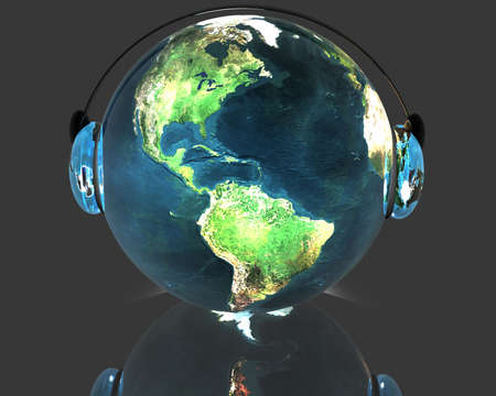3D music globe with headphone HDRI background photo