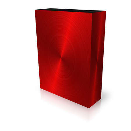 blank red brushed box template on white background photo