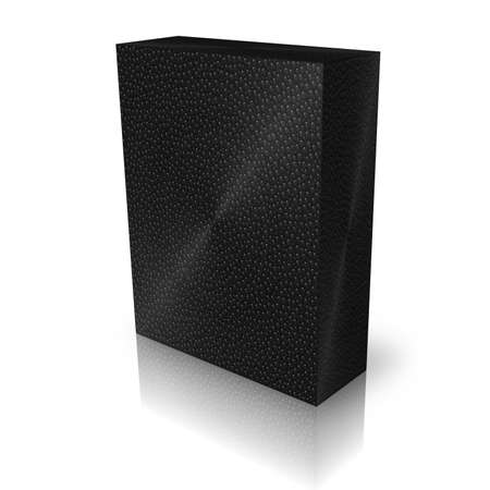 pc case: blank black water drops box template on white background Stock Photo