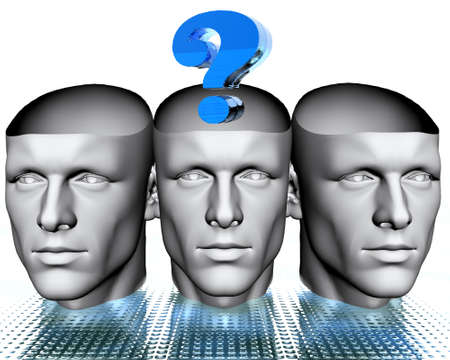 3D man heads with blue question mark photo