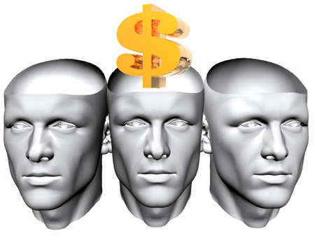 3D man heads with golden us dollar sign photo