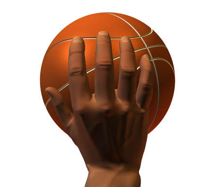 nba: 3d hand with basket ball isolated on a white background