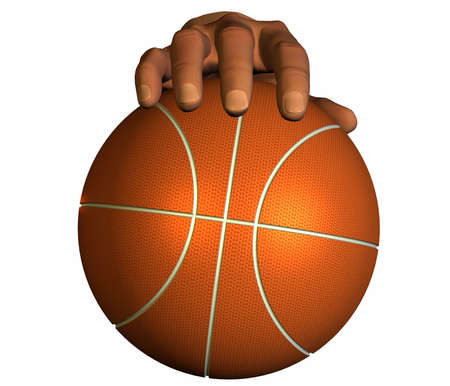 3d hand with basket ball isolated on a white background photo