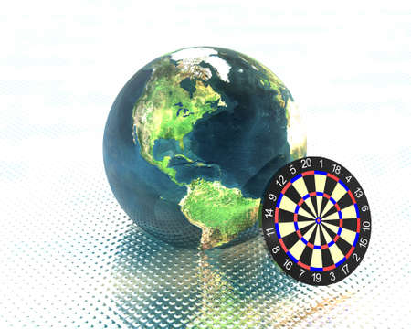 3D earth with darts photo