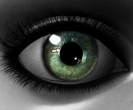 ojos verdes: hermosa ni�a de los ojos en 3D