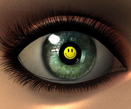 beautiful girl eye in 3D with smiley face in eyeball